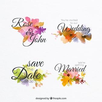 Set aquarel etiketten voor bruiloft