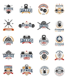 Set bodybuilding badges, stickers geïsoleerd op wit.