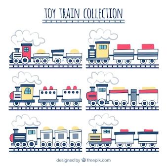 Set hand getekende speelgoed treinen