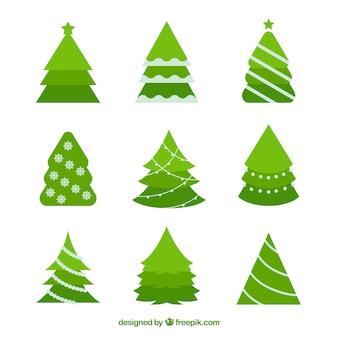 Set kerstbomen in plat ontwerp