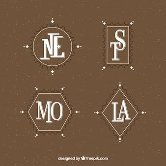 Set monogrammen in vintage stijl