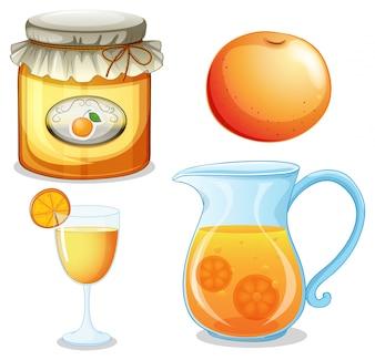 Set oranje product met jam en sap
