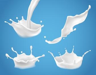 Set van 3D vector melkplons en gieten, realistische natuurlijke zuivelproducten, yoghurt of room