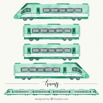 Set van aquarel treinwagons