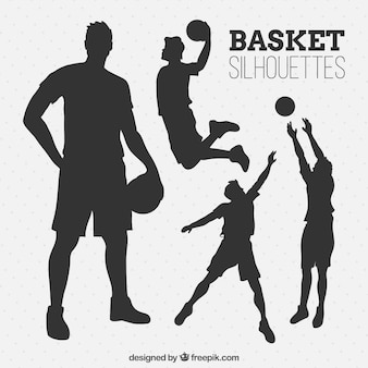 Set van basketballers silhouetten