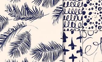 Set van blauwe patronen getrokken met droge borstel.