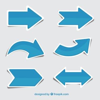 Set van blauwe pijl stickers