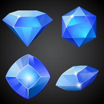 Set van blauwe vector edelstenen