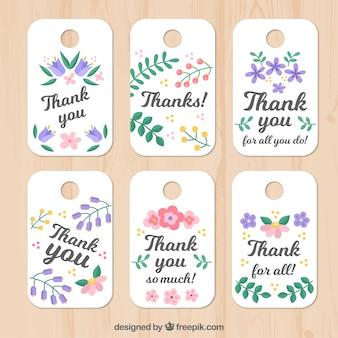 Set van bloemen dank u tags
