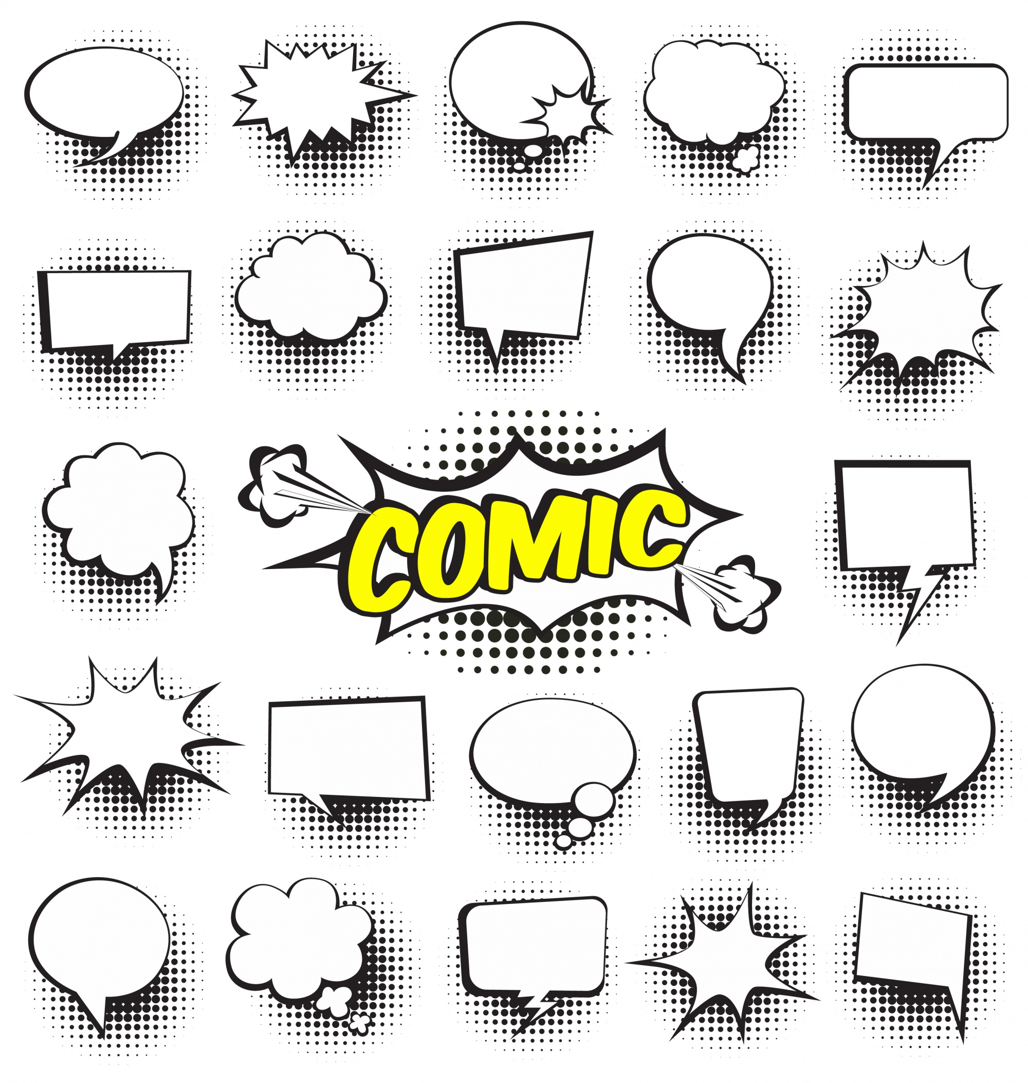 Set van cartoon strips speech bubbles Lege dialoog wolken