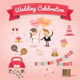 Set van cartoon Wedding design elementen vector