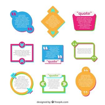 Set van citaat sjablonen in plat ontwerp