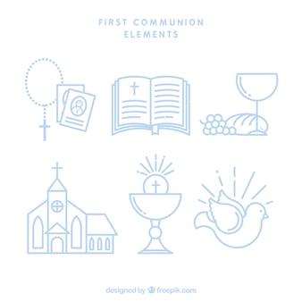 Set van de eerste communie elementen in lineaire stijl