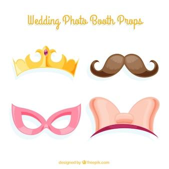 Set van decoratieve bruiloft accessoires voor foto booth
