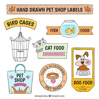 Set van decoratieve dierenwinkel stickers