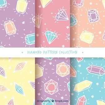 Set van diamant patronen in pastel kleuren