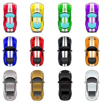 Set van drie auto's in vier verschillende kleuren Vector geïsoleerde objecten