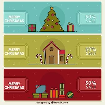 Set van drie christmas banners met kortingen