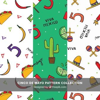 Set van drie cinco de mayo patronen met de hand getekende artikelen
