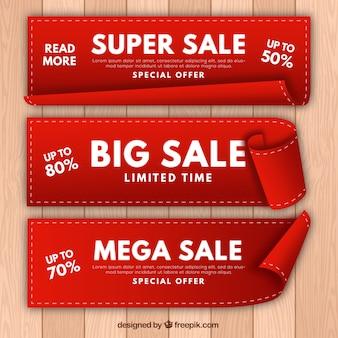 Set van drie realistische verkoop banners