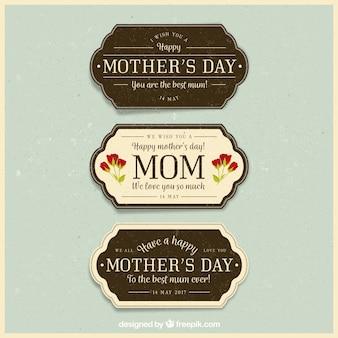 Set van drie vintage badges voor moederdag