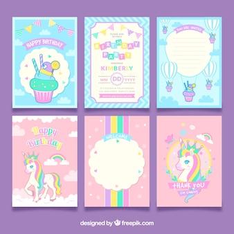Set van eenhoorn verjaardagskaarten