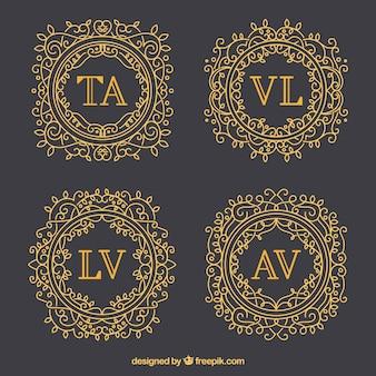 Set van elegante gouden monogrammen