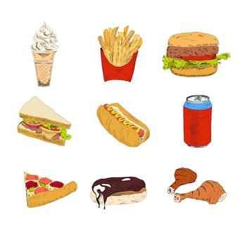 Set van fastfood iconen