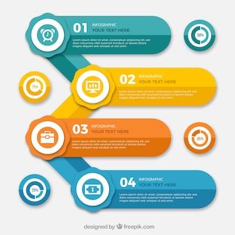 Set van gekleurde infografische banners met grafieken