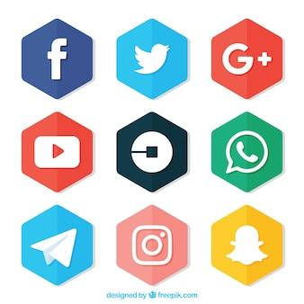 Set van gekleurde zeshoeken met logo's van sociale netwerken