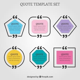 Set van geometrische citaat sjablonen