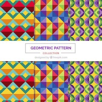 Set van geometrische kleurrijke patronen in plat ontwerp