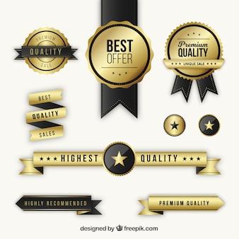 Set van gouden premium badges en linten