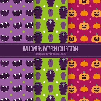 Set van Halloween gekleurde patronen