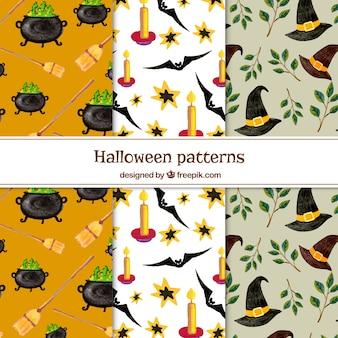 Set van halloween patronen met aquarel elementen