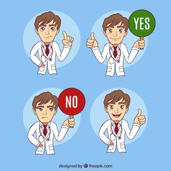 Set van hand getekende arts met verschillend gezicht