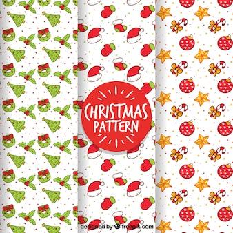 Set van handgetekende kerstpatronen
