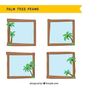 Set van houten kozijnen met palmbomen