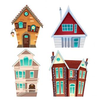 Set van huizen Vector cartoon geïsoleerde items voor games en graphics