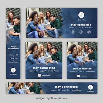 Set van internet en telefonie banners