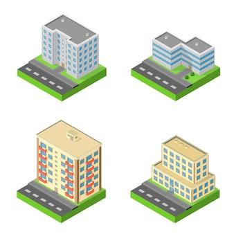 Set van isometrische blokhuizen