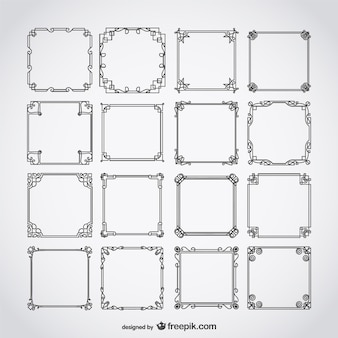 Set van kalligrafische frames