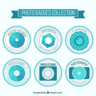 Set van lichtblauwe retro fotografie labels