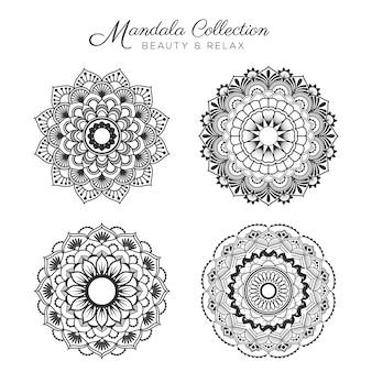 Set van mandala decoratieve en sier ontwerp voor kleurplaat, wenskaart, uitnodiging, tattoo, yoga en spa symbool