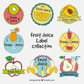 Set van met de hand getekende fruit stickers