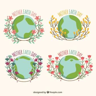 Set van moeder aarde dag stickers met bloemen elementen
