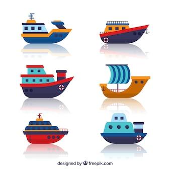 Set van mooie boten in vlakke vormgeving