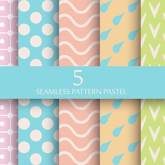 Set van pastel naadloze patroon behang
