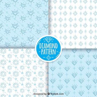 Set van patronen met diamant schetsen