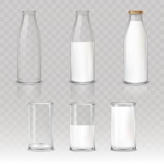Set van pictogrammen glazen en flessen met een melk